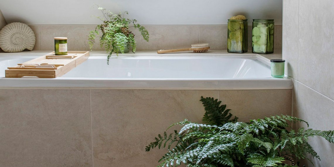 Quay View Bathroom interior, green ferns