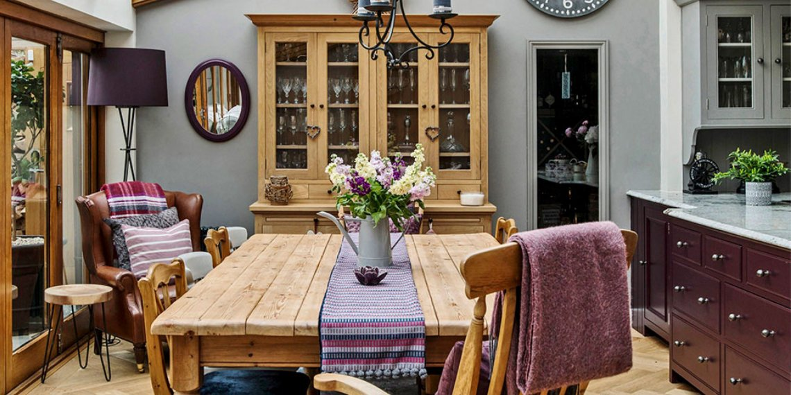 Quay View Interior dining table, purple colour scheme